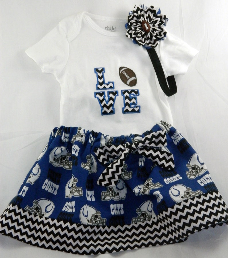 49b08a2e Indianapolis Colts NFL Embroidered one piece bodysuit, skirt, and headband  for baby girl, NB-4T