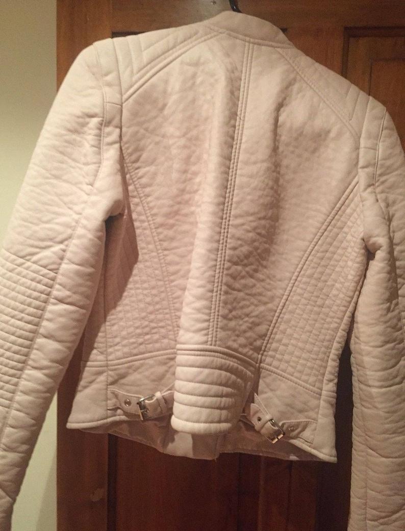 lined size 14-16ukaprox Funky Punk Zara Dusty Pink leather Biker Jacket Size L