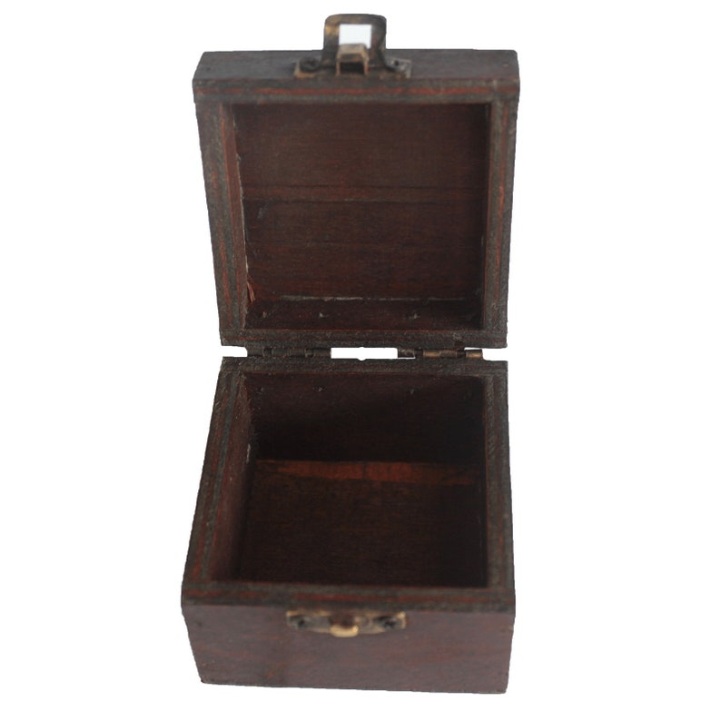 Set of 2 hand-made wooden Gothicsteampunk Square Boxes antique style with brass catch