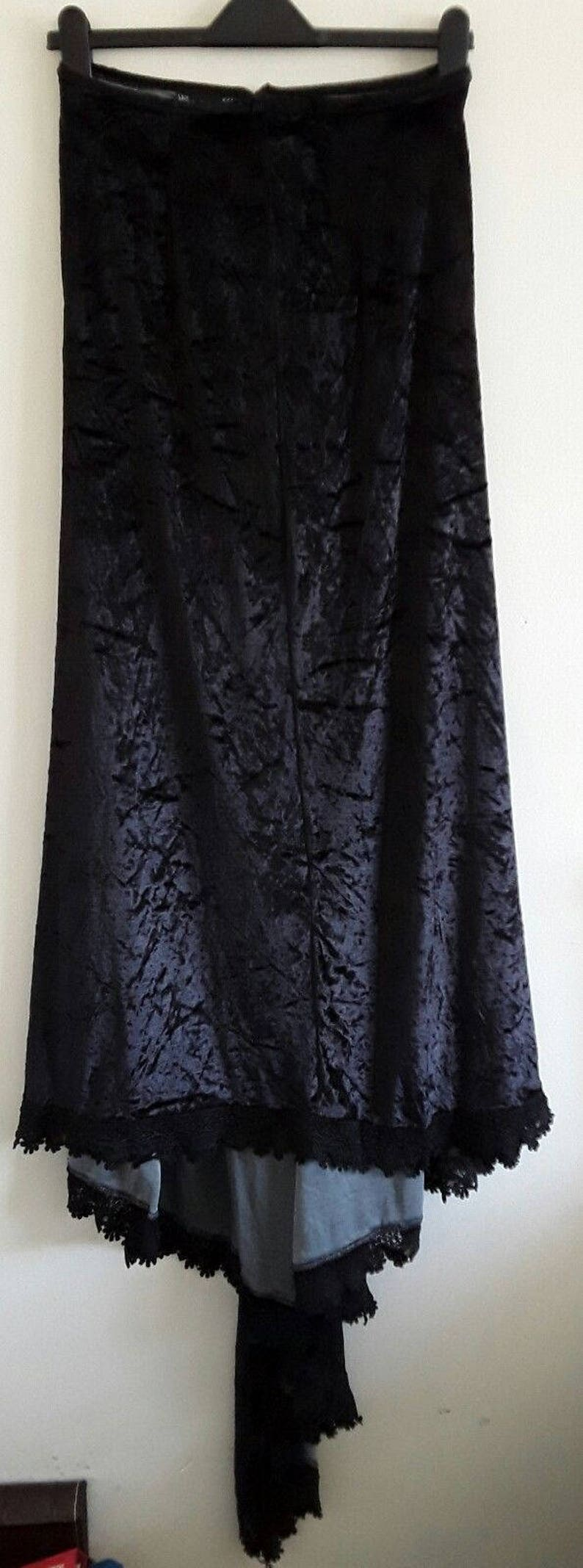 GOTH long black velvet lace trimmed skirt by bares small meduim train