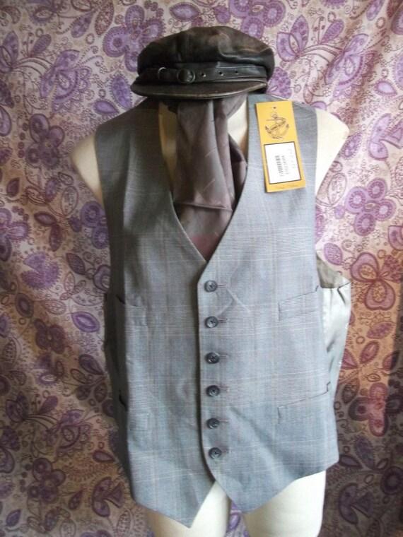 funky Steampunk/TrueVintage mens/unisex grey pnstripe Waistcoat-Size 48