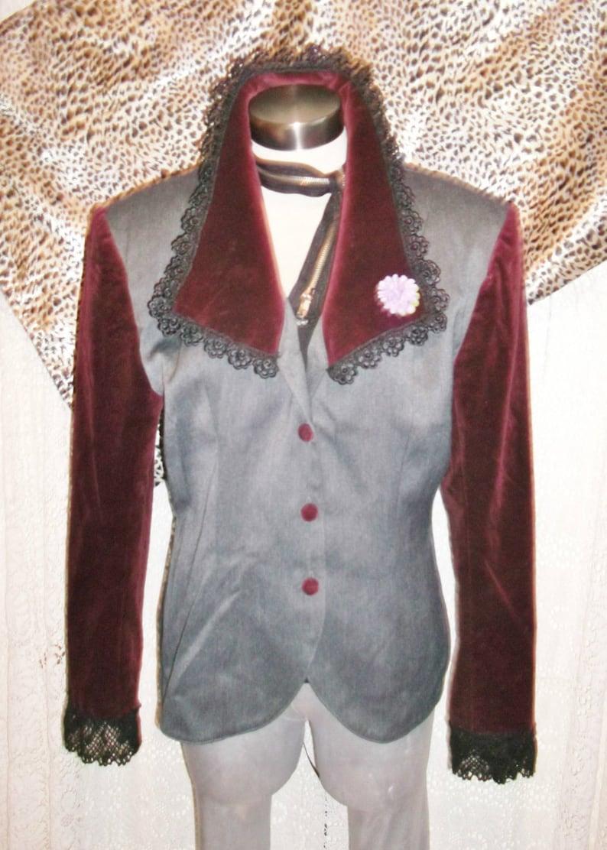 vINTAGE grey jacket purple velvet sleeves collars/& lace trimSize 14.Island Republic