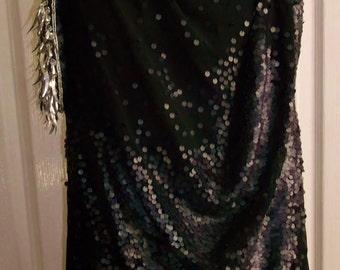 Access your inner DIva -Retro  'little black dress' size 12, drapes, sleeveless, dull sequins