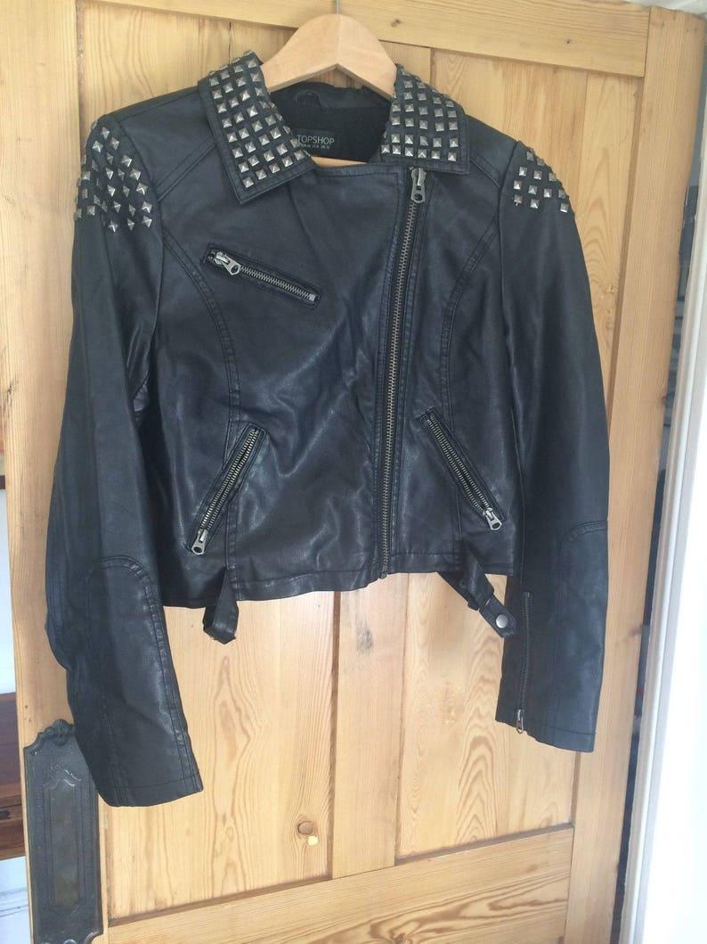 733ad79d8 Vintage retro punkTopshop faux leather BLACK BIKER jacket with square silve  studs - size 12