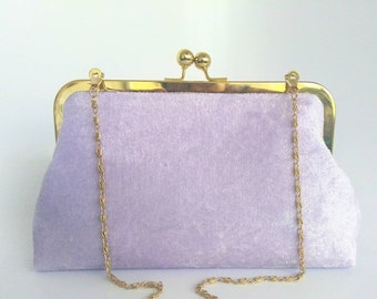 Womens Clutch Crossbody Handbag Purse Bag-Purple Velvet NEW