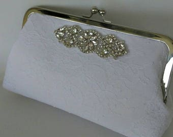Off White lace rhinestone wedding evening bridal summer prom clutch purse BBsCustomClutches