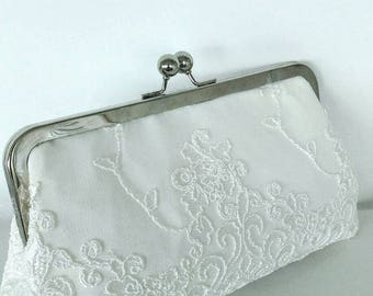 Ivory off white lace summer clutch wedding Bridal clutch purse BBsCustomClutches