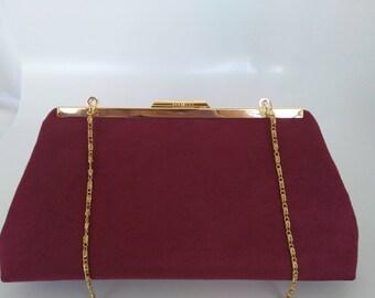 Burgundy Clutch Bag Claret Satin Evening Bag Wine Red Shoulder Bag Prom Bag