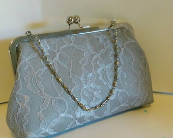 Silver gray lace wedding Bridesmaids Bridal evening clutch purse BBsCustomClutches