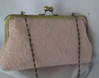 Blush Ivory White lace sequin evening wedding summer clutch Rustic wedding clutch BBsCustomClutches