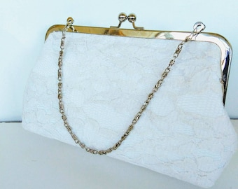 Ivory off white cotton lace summer clutch wedding Bridal clutch purse BBsCustomClutches READY TO SHIP