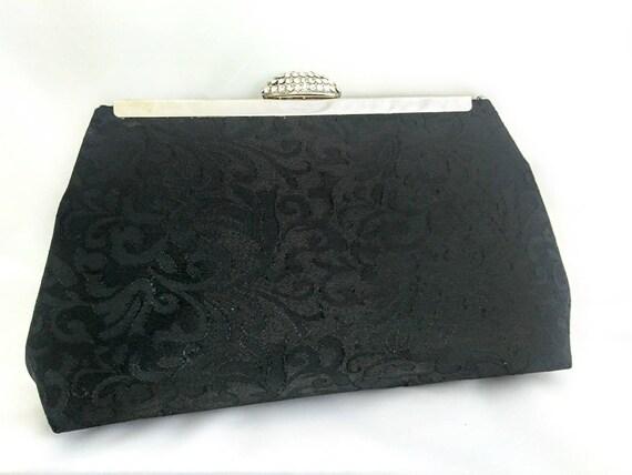 Black Brocade Evening Handbag