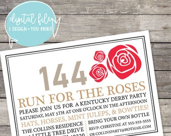 Kentucky Derby 144 Party Run for the Roses Customizable Invitation with 2018 colors