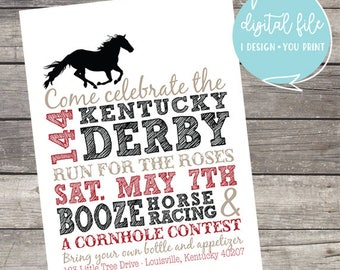 144 Kentucky Derby Party Customizable Invitation with 2018 colors