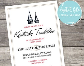 144 Kentucky Tradition Derby Party Run for the Roses Customizable Invitation with 2018 colors