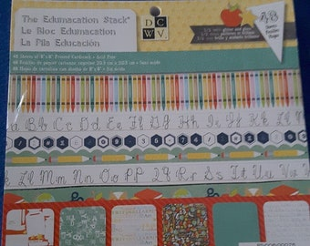 DCWV 8x8 stack Edumacation, school themed patterned paper