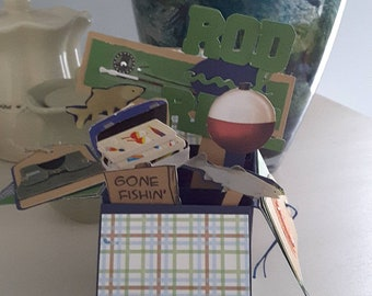 Fishing pop up box card for Father's Day,  birthday or just for fun