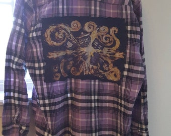 Dr Who starry night, purple plaid flannel shirt, medium, ooak upcycled