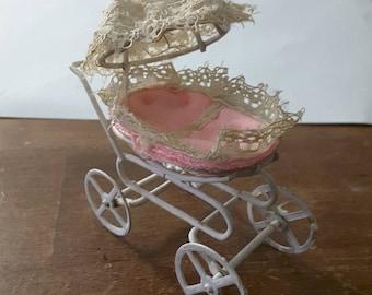 Vintage miniature baby carriage pram
