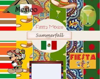 Fiesta Mexico mini kit - digital papers & clip art
