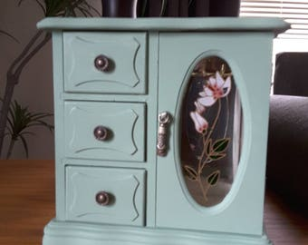 Vintage wood jewelry box hand painted sage green, lightly distressed