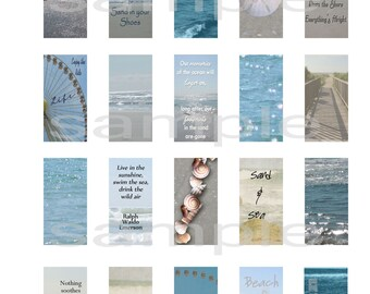 """Printable Beach art & quotes 1"""" x 2""""  - domino, slides, collage, paper or digital projects"""