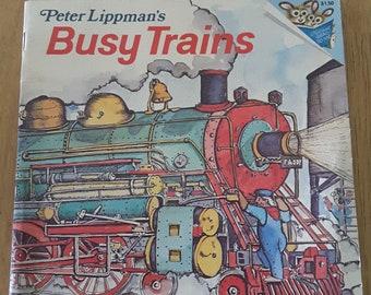 Vintage 70s children's book Peter Lippman Busy Trains