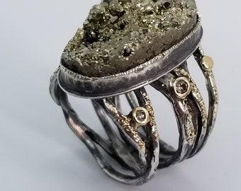 Pyrite Druzy ring with Diamonds