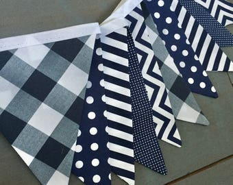 Navy & White Fabric Bunting Pennant Banner for Boys Room, Nursery, Nautical Baby Shower, First Birthday Party Decoration Gingham Photo Prop