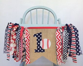ONE 1 Baseball Highchair First Birthday Party Decorations Navy Blue & Red Burlap Bunting Pennant Banner for Baby Boy Photo Prop