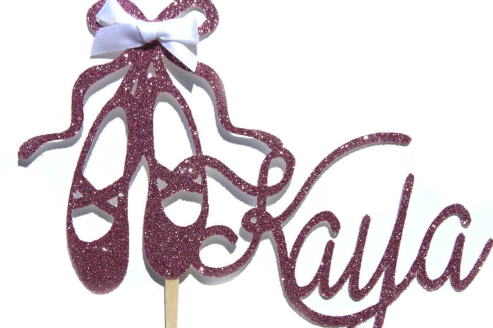 ballerina cake ballet cake topper princess cake topper cake topper custom name topper birthday name topper glitter cake topper b