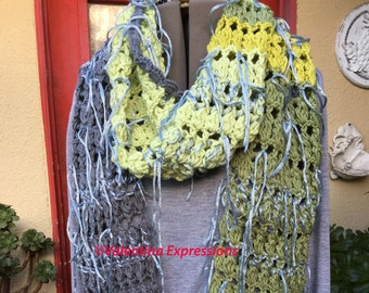 Long Scarf Fern and Dove Gray with Silver Fringes
