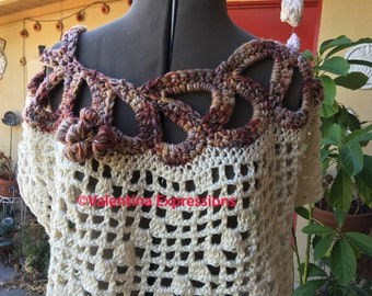 Two Colors Sweater with Asymmetrical Circles at Neckline