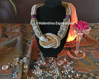 COLLIER - Neckwarmer in Beige and Honey Colors Bejewelled on Two Sides