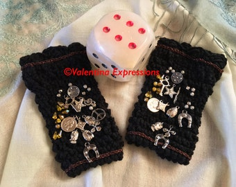 Black Fingerless Gloves with Lucky Charms