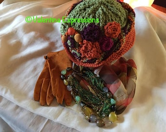 Renaissance Cloche in Orange and Green Embellished with Rosettes