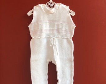 Vintage 1980s 80s Baby Infant Girls White Pink Knit One Piece Sleeveless  Footed Romper Sleeper! Size 6-12 months d12b23fd1