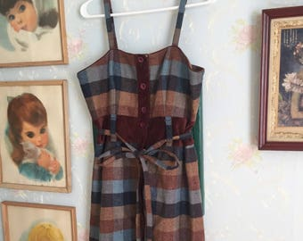 Women's Maple Anthropologie Wool Blue Brown Plaid Velvet Jumper Dress! Size M 12