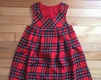 Vintage 1980s Girls Red Plaid Wool Pleated Jumper Dress! Size 5-6