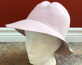 abaa0753 Vintage 1970s 70s Women's Pink Felt Wool Hat!
