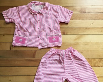 Vintage 1990s Baby Infant Girls Pink White Striped Birthday Cupcake Pajamas  Set! Size 12 months 706e827c3