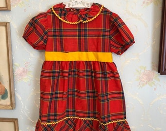 Vintage 1970s Girls Red Yellow Plaid Dress! Size 3