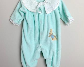 743b991d9 Vintage 1990s 90s Baby Infant Girls Green Velvet Embroidered Peter Rabbit  Beatrix Potter Lace Bunny Romper Sleeper! Size 12-18 months