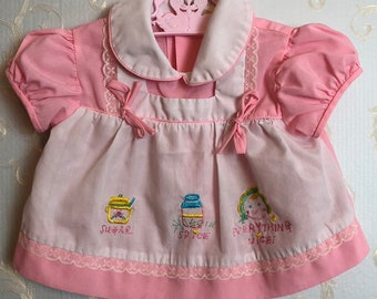 1f7ead1c5 Vintage 1980s 80s Baby Infant Girls Pink White Embroidered Sugar Spice  Everything Nice Lace Dress! Size 0-3 months