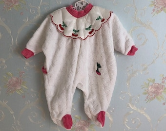 1c574523d16d Vintage 1980s 80s Baby Infant Girls Pink Red White Cherry Cherries Terry  Cloth Sleeper! Size 0-3 months