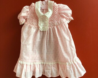 e262691823c1 Vintage 1980s 80s Baby Infant Girls Pink White Rosebud Floral Smocked Polly  Flinders Lace Ruffle Dress! Size 12 months