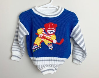 dd7a37e01 Vintage 1990s 90s Baby Infant Boys Blue Grey Striped Knit Quilted Hockey  Bear Sports Sweater Pants Outfit! Size 24 months