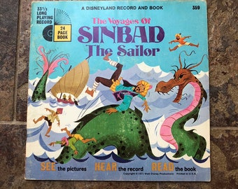 6ba42a480 Vintage 1970s 70s Walt Disney The Voyages of Sinbad the Sailor Disneyland  Record Book Set!