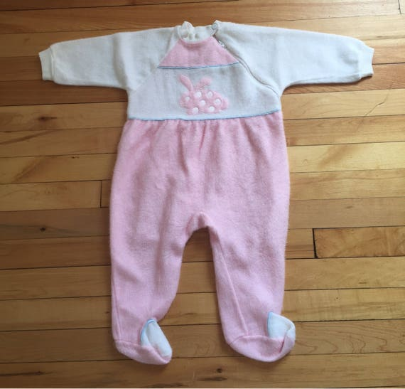 973719124f78 Vintage 1980s Baby Infant Girls Pink Fleece Bunny Sleeper