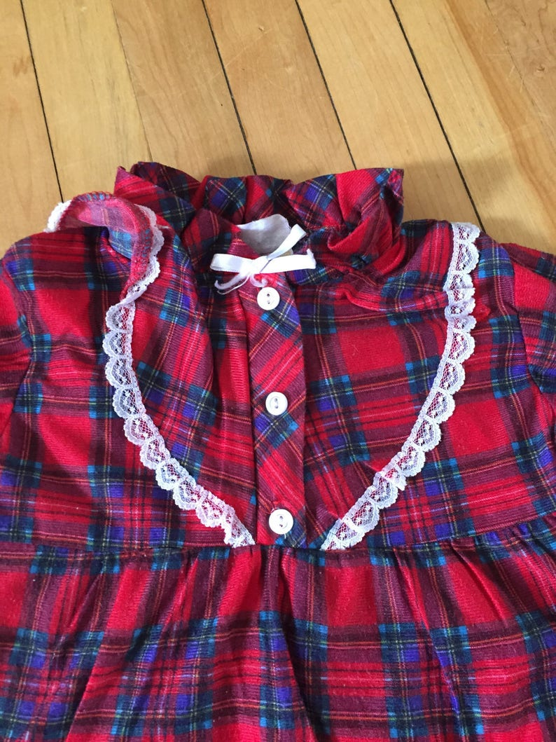 Size 3X Vintage 1990s Girls Red Lace Plaid Flannel Pajama Set